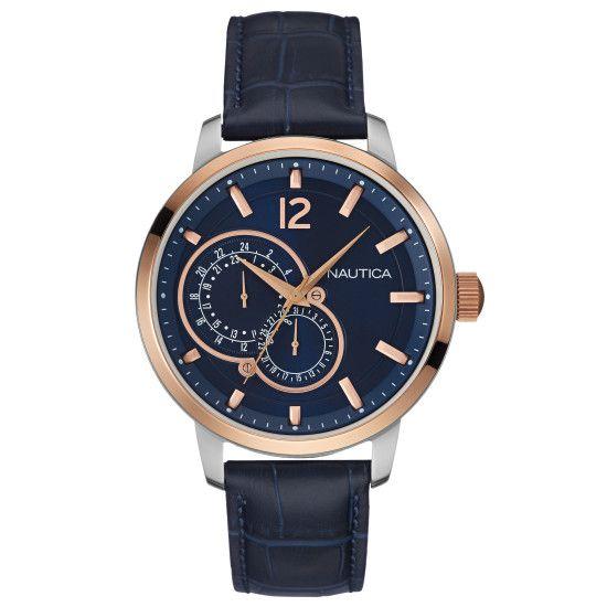 NCT 15 Multifunction Leather Watch - Multi | Nautica