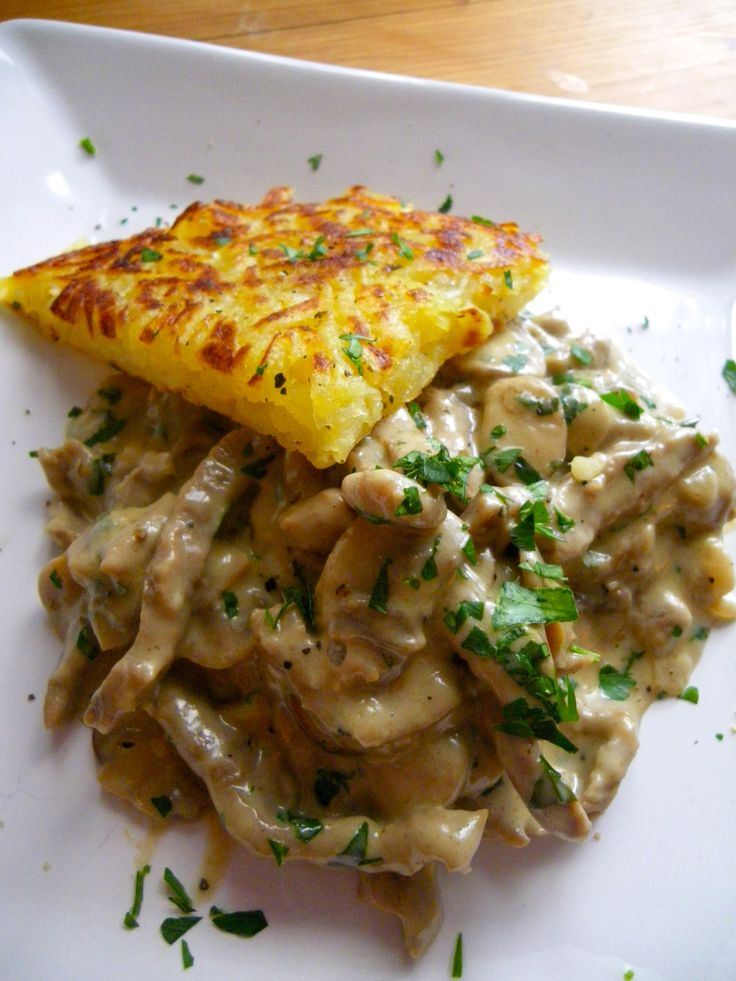 Züricher Geschnetzeltes or Zurich Style Stir Fry with Rösti. This sounds delicious, and gluten free!