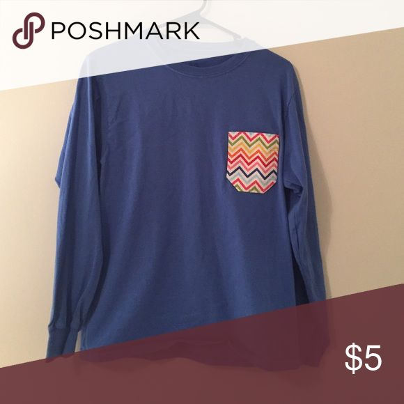 Pocketed tshirt Royal blue long sleeve tee with colorful chevron pocket. Very cute and in great condition! Tops Tees - Long Sleeve