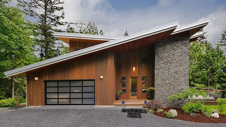 Slanted roof modern cabin modern cabin pinterest for Slanted roof house plans
