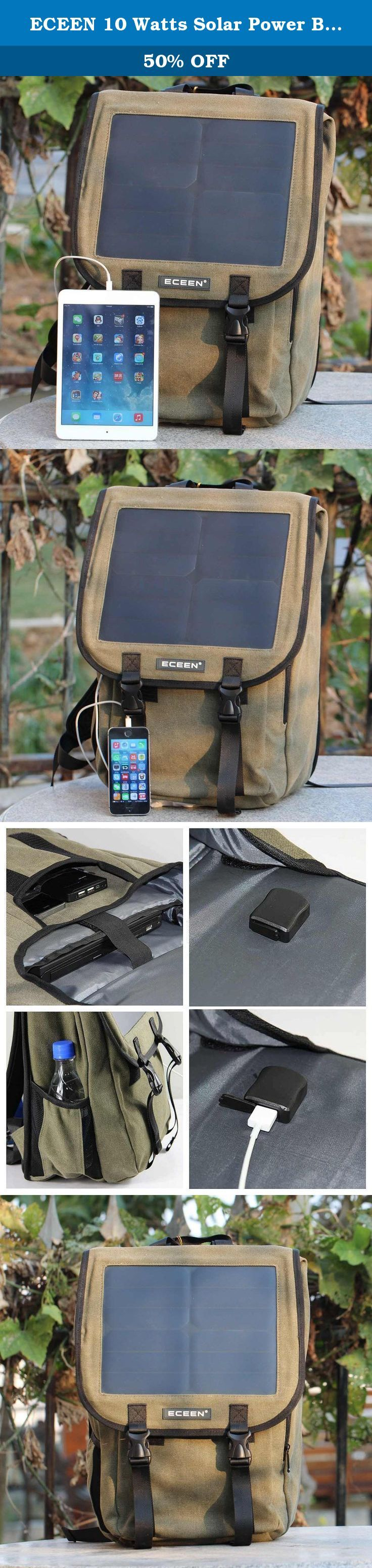 ECEEN 10 Watts Solar Power Backpack, 38 Litres and Canvas Material Bag, Solar Power Charger with Voltage Regualte Charging For iPhone, iPad, SAMSUNG, Gopro Cameras etc. 5V Device. (Ary Green). * ECEEN® is a registered trademark. ONLY Authorized seller of ECEEN® can sell under ECEEN® listings. The Solar Power Bag is a stylish backpack with all of the functionality and looks of a well-equipped backpack with the addition of a solar charging module. The Solar Power Bag has pockets for your…