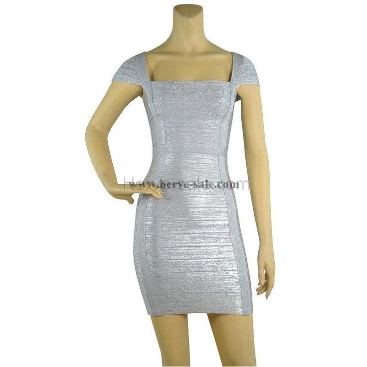 Herve Leger Silver U-neck Straps Bandage Dress HL414S