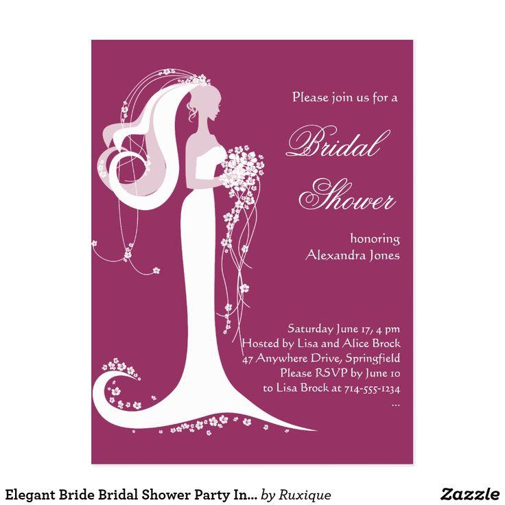 Elegant Bride Bridal Shower Party Invitation #ElegantBride #BridalShower #Party #Invitation
