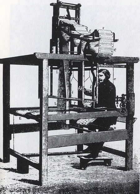 In 1801 Joseph Marie Jacquard demonstrates his Jacquard loom for the first time. It employed punch cards which corresponded to hooks that created the intricate patterns. His modification furthered the development of programmable machinery including computers.