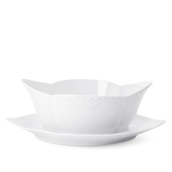 Royal Copenhagen White Fluted Half Lace Sauce Boat