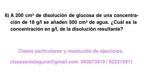 Ejercicio 6 propuesto de Concentración de disoluciones: gramo / litro