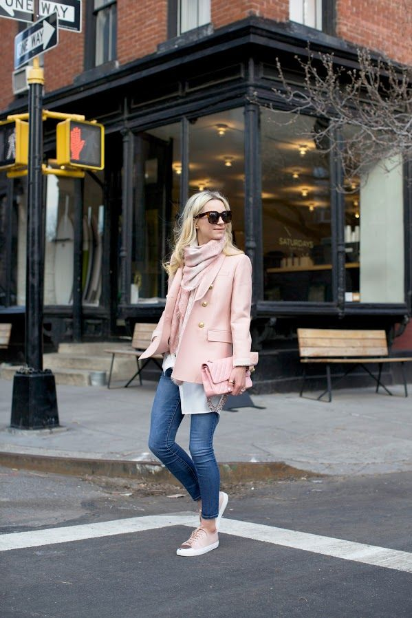 pale pink wool coat, white button-down shirt, white and pink scarf, pink leather bag, faded skinny jeans, pale pink sneakers