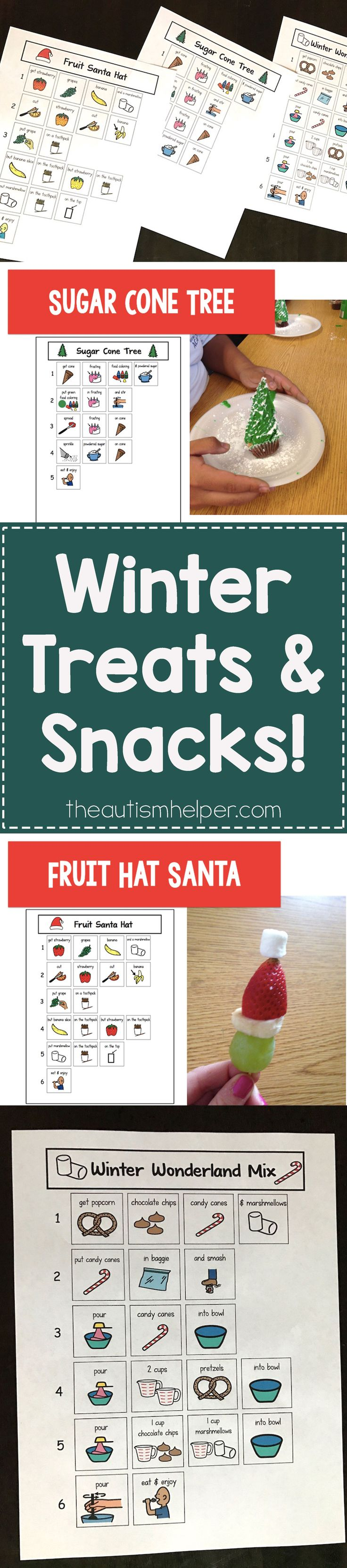 My Summer and Halloween Treats & Snacks were such a hit that you know I had to come up with a Winter Themed Version! Follow the yumminess on the blog!! From theautismhelper.com #theautismhelper
