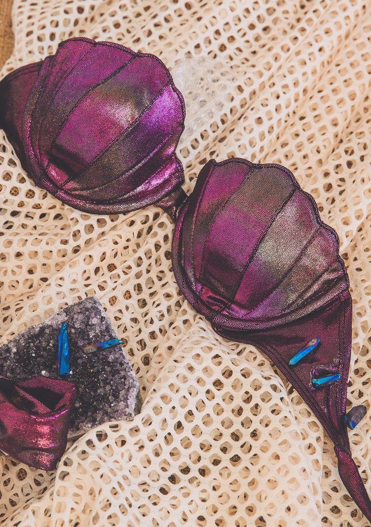 Margarita Mermaid Gemma Metallic Seashell Bikini Top | Dolls Kill