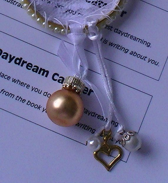 Small Dream Catcher Mini Gold-Pearl by jeanienineandme on Etsy