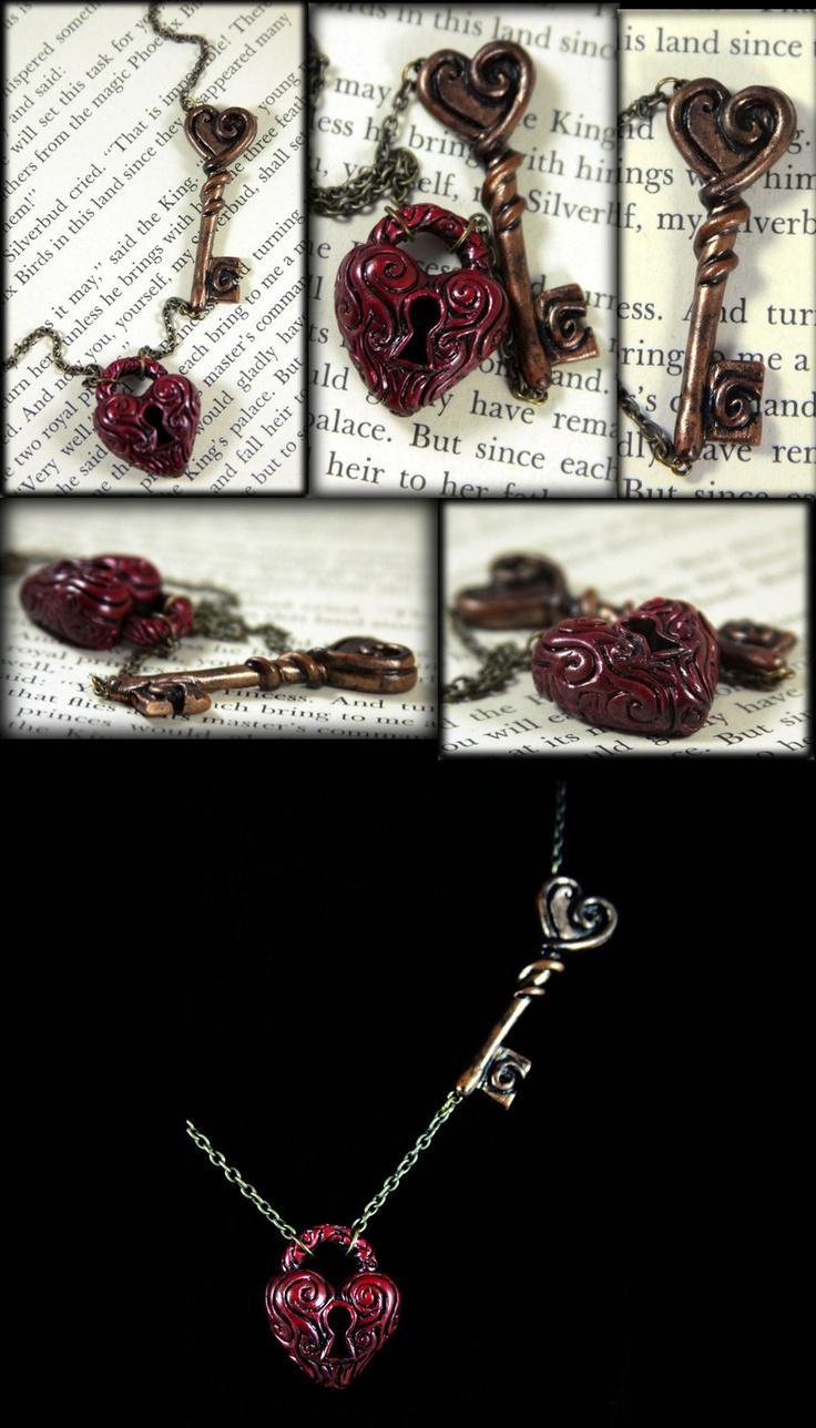 Heart's Lock and Key by NeverlandJewelry.deviantart.com