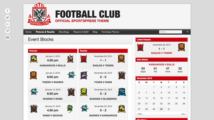 Get a professional website with player profiles, league tables, fixtures and results using the Football Club theme. All without knowing how to code. #wordpresstheme #wordpress