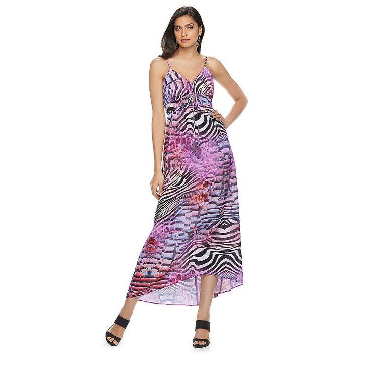 Petite Jennifer Lopez Printed Empire Maxi Dress, Women's, Size: Xs Petite, Med Purple