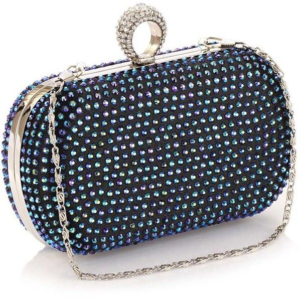 Luxurious Diamante Clutch Bag (€41) ❤ liked on Polyvore featuring bags, handbags, clutches, embellished purse, polka dot handbags, polka dot purse and embellished handbags