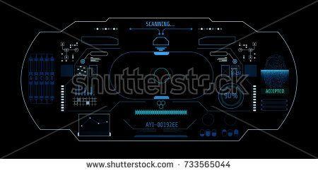 HUD Virtual Hologram User Screen Interface Vector.  Abstract Intelligence Futuristic Display Panel Fingerprint Security Scan Concept Illustration.