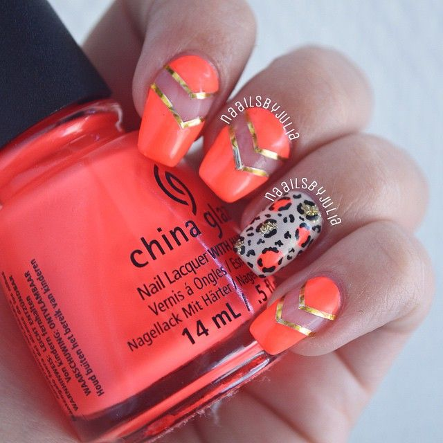 Leopard and chevron nails