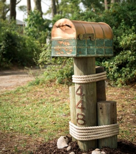 Nautical mailbox at DIY Network's Coastal Retreat in NC.