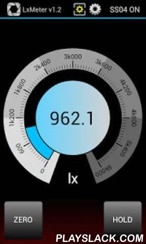 "LxMeter  Android App - playslack.com , This application turns your phone into a powerful instrument with the following functions:- LUX METER- EXPOSURE METER- FLASH METER- SPOT METERAs a luxmeter you can measure illuminance (density of luminous flux incident on a surface) from 0.1 to 250000 lx.By using the app in ""exposure meter"" mode you get an easy to use incident/reflected light meter and you can determine the proper exposure for a photograph.LxMeter supports measurements of flash lights…"