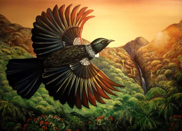 """Observer""- NZ native bird Tui"