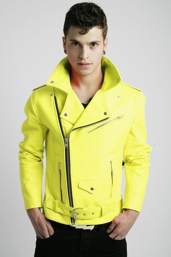 Neon leather jacket.