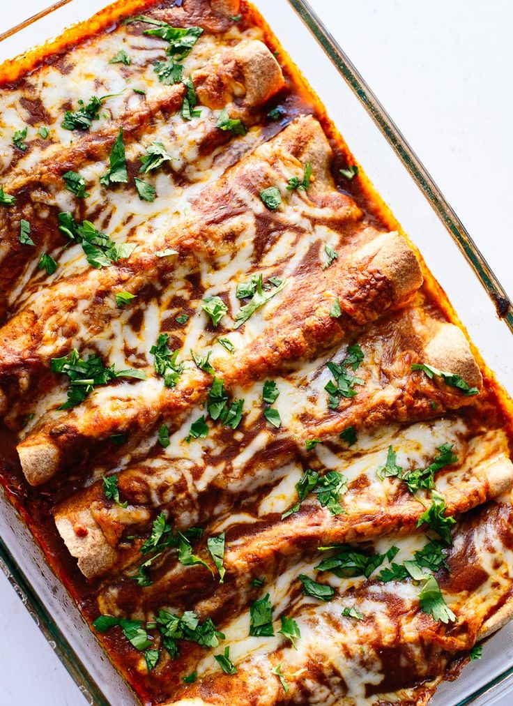 Delicious veggie black bean enchiladas are a healthy vegetarian enchilada recipe everyone will love! - cookieandkate.com
