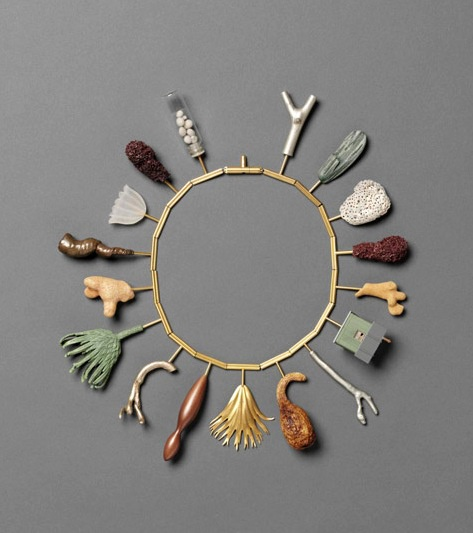 Necklace   Bruce Metcalf 'Rhyme and Pun'. Brass, copper, wood, shell, coral, gourd, acrylic, glass, lint balls, plastic, stainless steel, paint