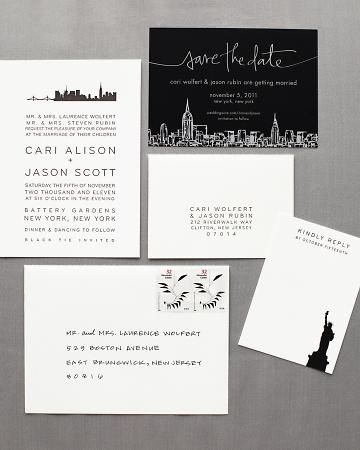 Hello!Lucky New York Skyline invitation featured in Martha Stewart Weddings!