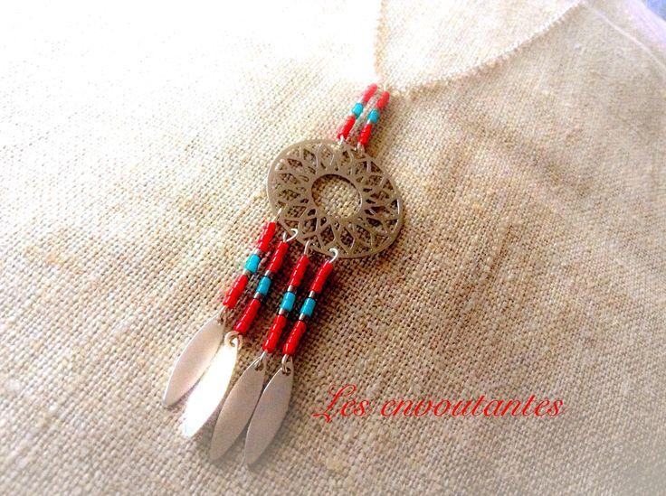 Collier sautoir argenté style amérindien rouge et turquoise avec navettes et perles miyuki : Collier par les-envoutantes