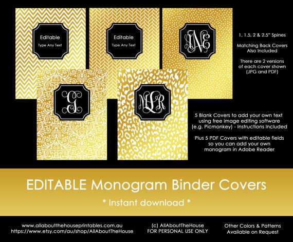 Gold Monogram Binder Cover printable - includes editable cover, spine and back cover - damask, chevron, polka dots, stripes, diamond, ikat, leopard print, cheetah, swirl, herringbone, greek key, aztec, paisley, quatrefoil etc. in metallic gold foil DIY Notebook Stationery Preppy school college editable personalised https://www.etsy.com/au/listing/269066226/gold-monogram-binder-cover-and-black?ref=shop_home_active_1