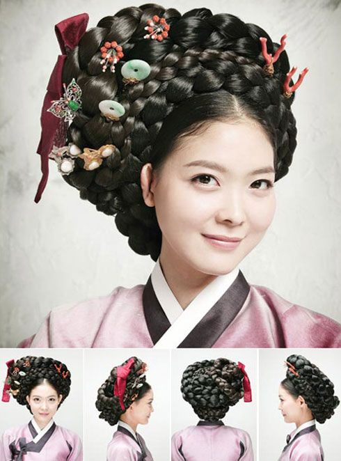 "Gisaeng Style While traditional Korean dresses are represented by the words ""elegant"" and ""refined,"" the clothes worn by female entertainers of the Chosun Dynasty exude splendor and voluptuousness. Accentuating them, the hairdo known as ""tre meori"" features a braided coil. This style is often found in the genre paintings of the era."