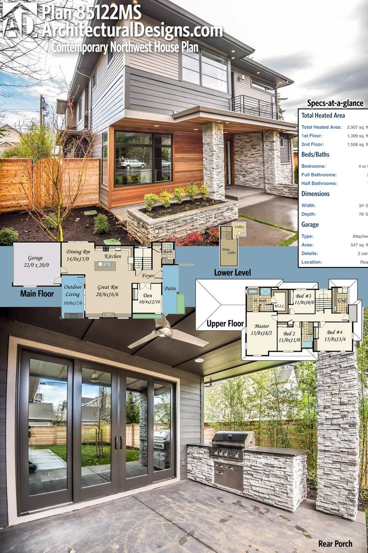 Architectural designs contemporary northwest house plan 85122ms has wonderful curb appeal and an open floor