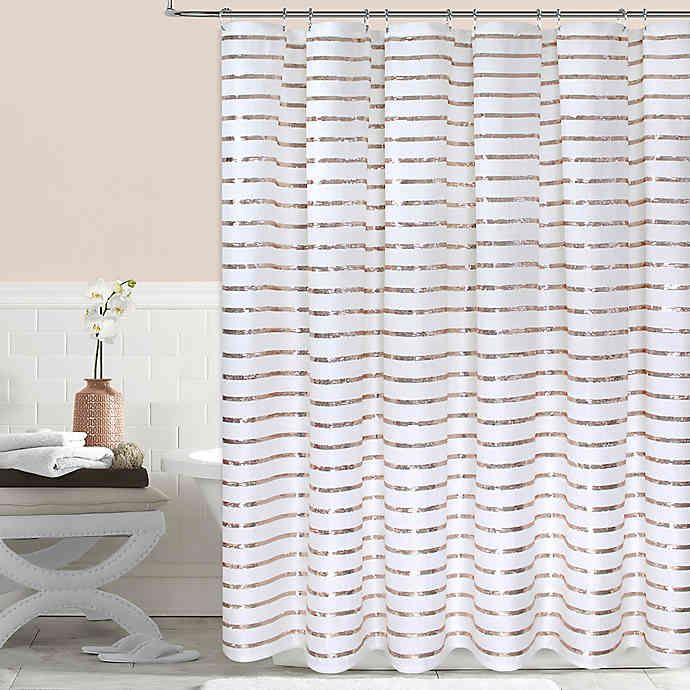 Colordrift Sequin Stripe Shower Curtain In Gold Striped Shower