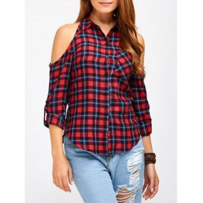 SpecificationProduct DetailsMaterial: Polyester Clothing Length: Regular Sleeve Length: Full Collar: Shirt Collar Pattern Type: Plaid Embellishment: Hollow Out Style: Fashion Season: Fall,Spring,Summer...