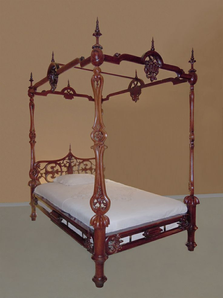 Exceptional Carved Rococo Style Rosewood And Mahogany Four Poster Bed Attributed To Alexander Roux - American   c.1850  -  1stdibs.com