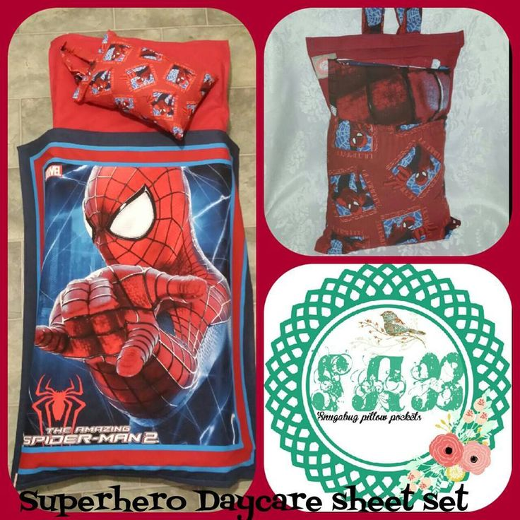 Handmade by Snugabug Pillow Pockets Title: Day care sheet sets featuring Spider Man.