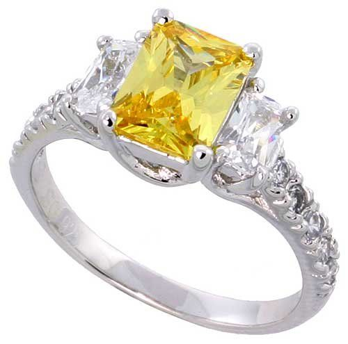 """Sterling Silver Vintage Style Engagement Ring, w/ two 5 x 3 mm (.25 ct) & one Yellow Topaz-colored 8 x 6 (1.5 ct) Emerald Cut CZ Stones, 5/16"""" (9mm) wide, size 8 Sabrina Silver"""