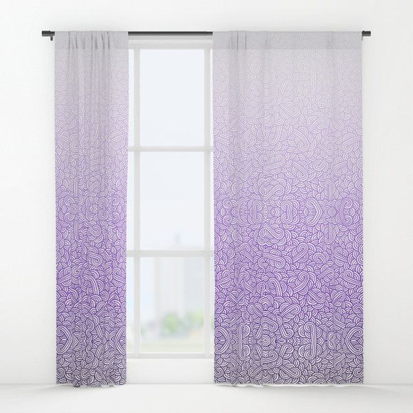 Gradient Purple And White Swirls Doodles Window Curtains ($119) ❤ Liked On  Polyvore Featuring