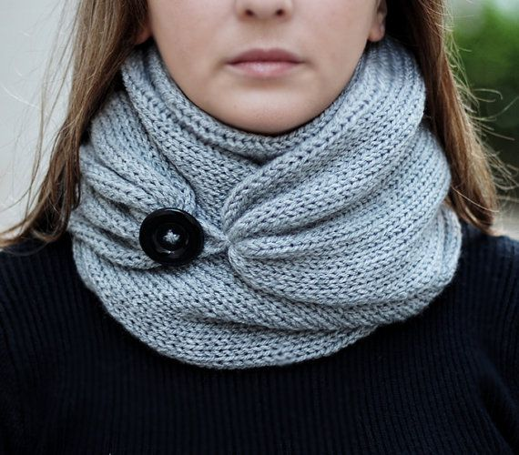 Knit Scarf with button, infinity scarf, circle scarf, loop scarf , knit infinity…