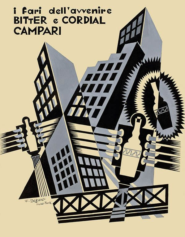 Fortunato Depero (1892-1960), 1931, I fari dell'avvenire Bitter e Cordial Campari (The headlights of the future Bitter and Cordial Campari). #ItalianFuturism