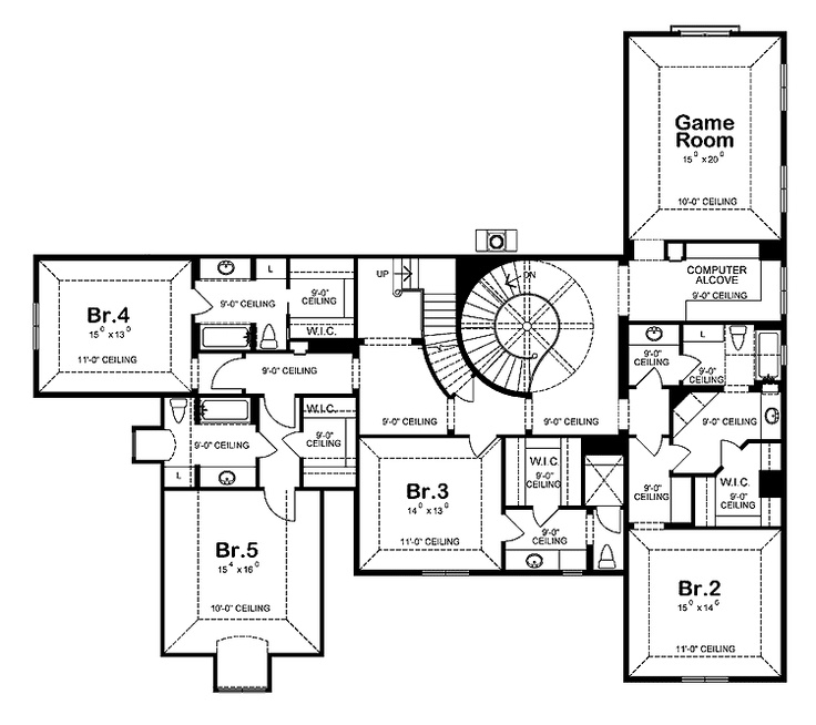 Second Floor Of My Dream Home. Have The Stair Rail Form A Right Angle Near