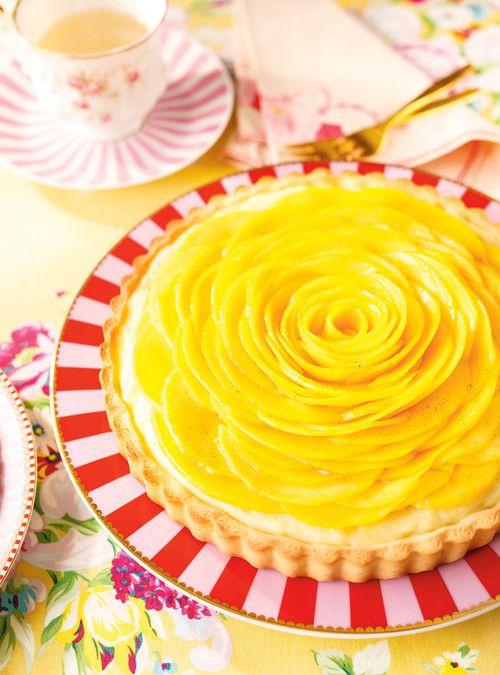 Tarte fleur à la mangue et à la vanille