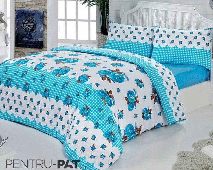 Set cuvertura pat pentru o persoana Anatolia blue