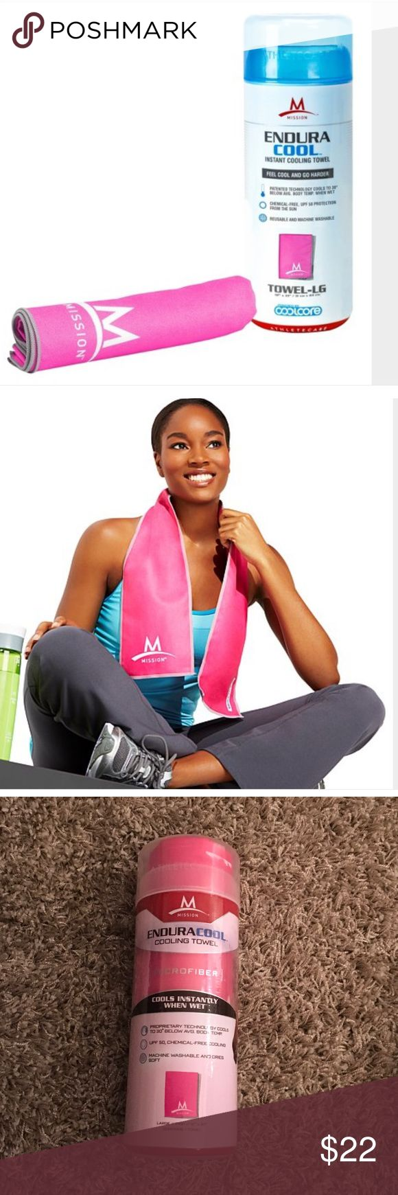 NWT pink enduracool cooling towel EnduraCool Instant Cooling Towel is made from a patented performance fabric that instantly cools when soaked with water, wrung out, and then snapped in the air to activate the cooling properties. The high-performance, multi-yarn fiber absorbs moisture and perspiration into the fabric core where the unique radiator-like fiber construction circulates water molecules and regulates the rate of evaporation to create a prolonged cooling effect UPF 50 protection…