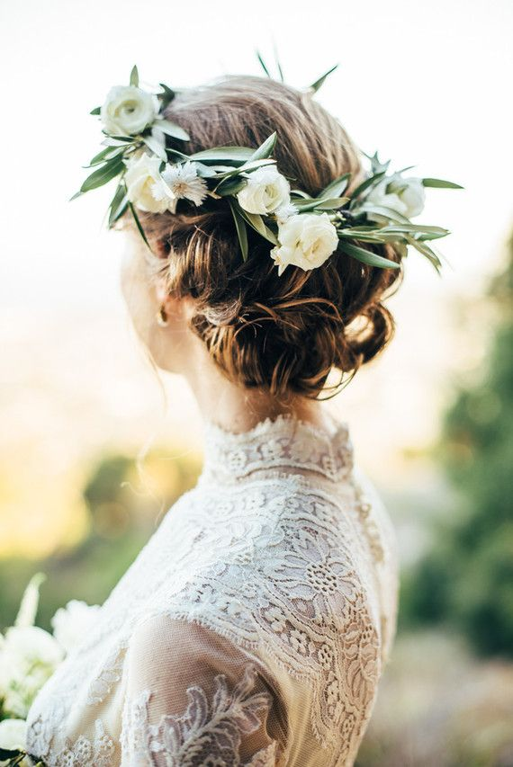 romantic wedding undo with floral crown | image via: 100 layer cake