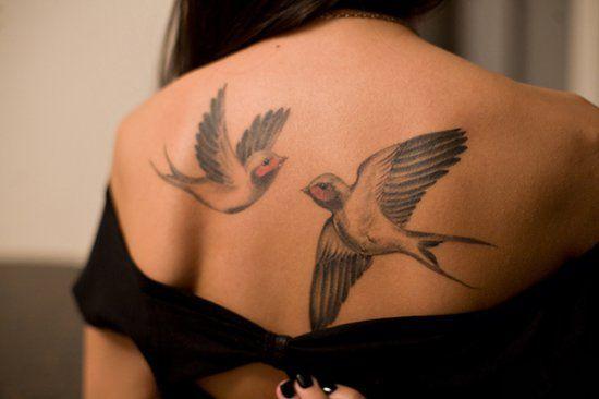 Примеры татуировок с ласточками