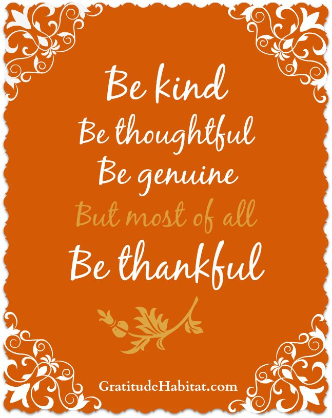 Be kind, thoughtful, genuine and most of all thankful. #thankful  www.GratitudeHabitat.com