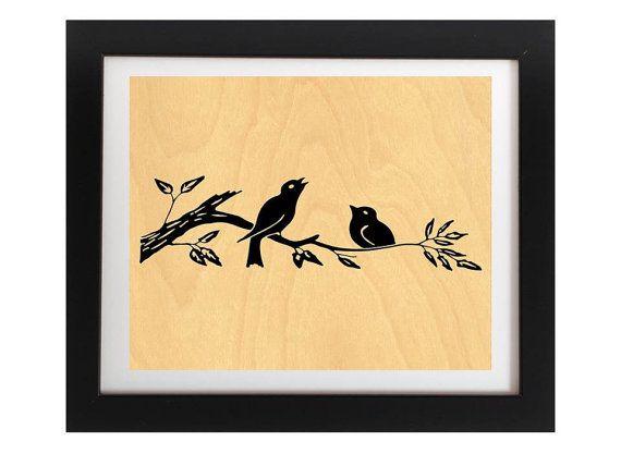 Birds Rustic Silhouette Real Wood Print  by TheWoodPaperShoppe