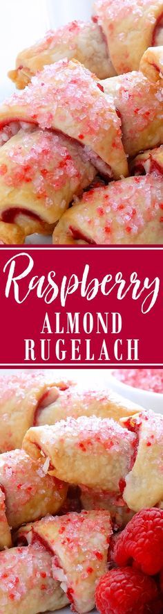 Raspberry and Almond Rugelach Cookies - Scrumptiousness! The very best buttery and flaky cream cheese pastry, with an irresistible raspberry and almond filling, shaped into traditional crescent shapes with crunchy raspberry and strawberry flavored crystal sugar sprinkles—so pretty! | Wicked Good Kitchen