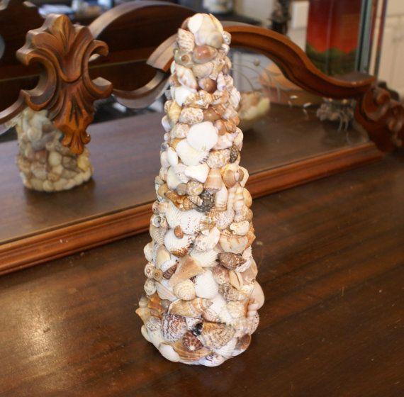 Seashell tree, topiary, Christmas tree coastal decor, beach decor, sea shell decoration shabby chic ecofriendly on Etsy, $69.99