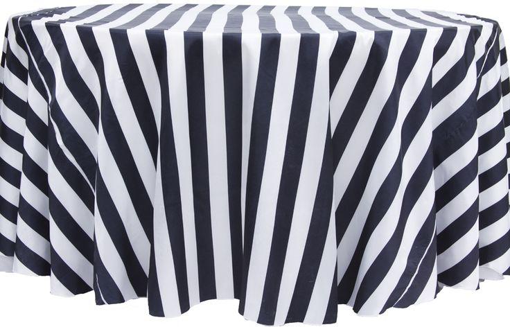 """Stripe 132"""" Satin Round Tablecloth - Black & White http://www.cvlinens.com/stripe-satin-round-tablecloth-black-white-p-5834.html"""